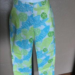Lilly Pulitzer Capri Pants 0 Aqua Fish Shell Print